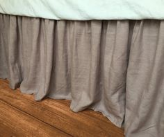 "Orchid Dust Ruffle up to 24"" drop, 100% natural linen 