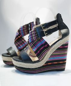 Dark Colored Stripe Cross Strap Wedge Sandals #shoes