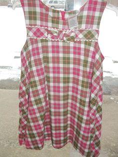 Gymboree dress 4t Gingerbread Girl sleeveless pink plaid green multi vintage #Gymboree #DressyEverydayWeddingEasterValentinesDaycruisewear
