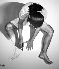 "Indonesian artist Veri Apriyatno is known for his realistic self-portraits that have an Escher influence. The majority of his drawings were done with pencil on canvas, but others like the ""Eye"" were made with charcoal and pastel."