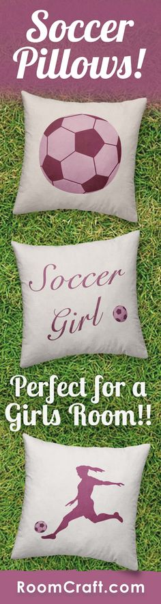 GOAL! These soccer throw pillows will turn any girl's room into a sports haven. Each design is offered in multiple fabrics, sizes, and colors making them perfect for any room in your home. Our quality pillow covers are made to order in the USA and feature 3 wooden buttons on the back for closure. Choose your favorite and create a truly unique pillow set. #roomcraft