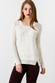 Suzy Shier Lace Front Sweater