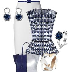 Following the three P' rule (pencil, peplum, and pumps)we are in love with this navy and white ensemble. Paired with our Beautiful Blues from Ti Sento you can step out in a white skirt with confidence.