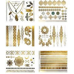 BohoTats Flash Tattoos - Set of 5 Sheets - Over 50+ Intricate Designs - Stunning Metallic Flashtats - Non Toxic - Quality Guarantee - Woman Girls Women - Custom Temporary Metallic Tattoos - Bling - All In One - Waterproof Trending Top Fashion Accessory