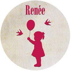 Geboortekaartje Renée - stickertje voor de doopsuiker - Pimpelpluis - https://www.facebook.com/pages/Pimpelpluis/188675421305550?ref=hl (# meisje - dieren - vogel - ballon - roze - origineel)