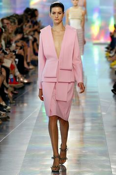 Christopher Kane - Spring 2013 - Lolly pink giant folds with plunging neck makes modern suitings for creatives.