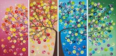 Original art Abstract painting large four seasons di QiQiGallery