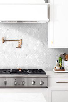 White Kitchen With White Backsplash Tile Glass Marble