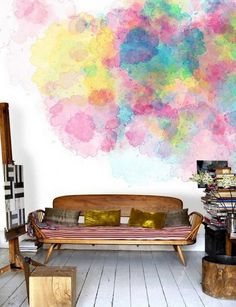 painting your walls with watercolors 25 ideas 02 feature walls