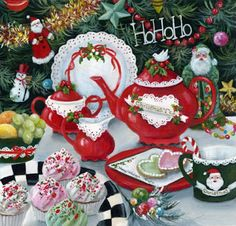 """""""Ho Ho Ho"""" Susan Rios Keepsake Art 8x8 Susan Rios has been a professional artist for over 30 years. You will find her romantic illustrations in many of Emilie Barnes Tea Books and her tranquil paintin"""