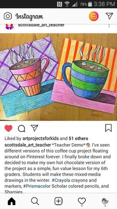 Coffee cup graphic: strong lines, bold colors, evoking warmth. Winter art class.