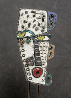 Kimmy Cantrell, Abstract Face Art, Statues, Ceramic Mask, Clay Faces, Cardboard Art, African Masks, Clay Projects, Handmade Pottery
