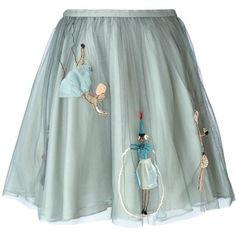 Красный Валентино вышитый тюль юбка