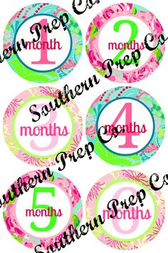 Preppy Watch Me Grow 12 Month Baby Stickers. $15.00, via Etsy.