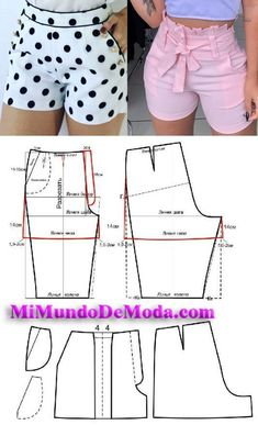 patron de short de mujer aprende hacer short con moldes o patrones para descarag… Sewing Shorts, Sewing Clothes, Dress Sewing Patterns, Clothing Patterns, Fashion Sewing, Diy Fashion, Moda Fashion, Costura Fashion, Make Your Own Clothes