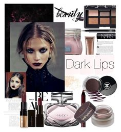 """Dark Beauty"" by israa-rz ❤ liked on Polyvore featuring beauty, Eve Lom, Gucci, Illamasqua, NYX, Chanel, NARS Cosmetics, St. Tropez, Stila and Bobbi Brown Cosmetics"