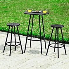 Haotian Bar Set–1 Round Bar Table and 2 Stools, Home Kitchen Outdoor Garden Bar Set,Patio Furniture,Bistros Sets Patio, OGT08-SCH, Black