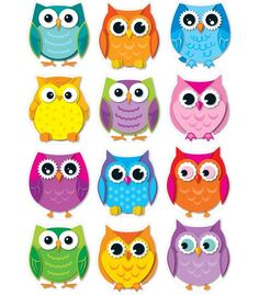 Colorful Owls Cut-Outs