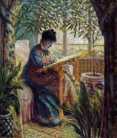 Huile sur toile, 65 x 55 cm, 1875 (W 366), Fondation Barnes, Merion (Pennsylvanie).  Représente Camille dans la véranda de la deuxième maison de C Monet  à Argenteuil.  Renoir a peint au même endroit et la même année un portrait de Claude Monet (cf. D Wildenstein).
