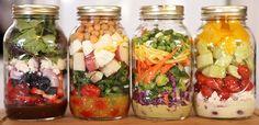 Salada no Pote: Monte a Sua! Escolha os seus ingredientes preferidos e monte as suas saladas obedecendo à regra das 6 camadas. Assim você terá uma salada d