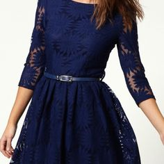 NYE SALENavy Embroidered Dress NWOT. So pretty and feminine. Perfect with some flats or heels. Would fit sizes 2-4 Dresses