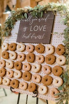 Norma Lily All You Need Is Love and Donuts Sign Dessert Table Sign Wedding Donuts Sign Donut Bar Sign Dessert Bar Sign Donut Bar Wedding, Dessert Bar Wedding, Wedding Cake Rustic, Wedding Desserts, Wedding Decorations, Wedding Cakes, Sweet Table Wedding, Bridal Shower Desserts, Brunch Wedding