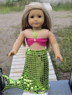 "Free 18"" American Girl Doll clothes patterns. American Girl Doll Mermaid Costume Tutorial AG040"