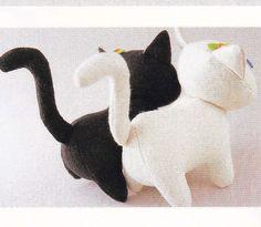 Cotton Linen Fabric Cute Cat Kittens Animal Mascots Handmade Plush Stuffed Toy Sewing Crafts pdf TUTORIAL & E PATTERN in Japanese. $3.00, via Etsy.