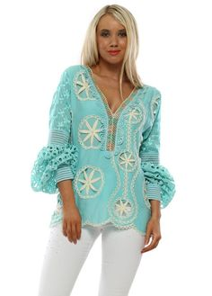 Stylish Laurie & Joe turquoise tops available online now at Designer Desirables. More Laurie & Joe delivered free and free returns Long Sleeve Maxi, Maxi Dress With Sleeves, Beaded Crochet, Crochet Top, Luxury Designer, Designer Wear, Turquoise Top, Kaftan Tops, Luxury Swimwear