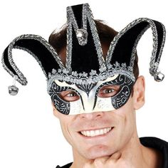 Black & Silver Jester Masquerade Mask. Black & silver jacquard eye mask in the style of a Court Jester hat.