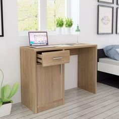 Modern Computer Desk Small Dressing Table Cabinet Drawer Home Office Bedroom Kids Computer Desk, Rustic Computer Desk, Modern Home Office Desk, Modern Desk, Desk Storage, Storage Spaces, Commode Design, Decoration Gris, Chest Furniture