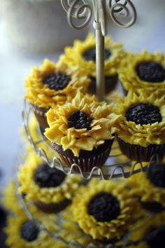 Our sunflower cupcakes from Monica's Bundt Cake.