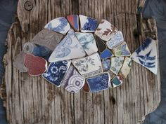 Pottery Shard Seaglass Mosaic Fish on Driftwood made by shelldesigns