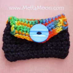 NEW MettaMoon Card Cozy Crochet Wallet Blue and Mix