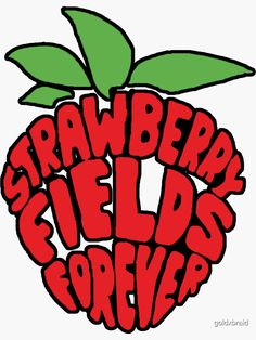 'Strawberry Fields Forever ' Sticker by goldxbraid Bedroom Wall Collage, Photo Wall Collage, Picture Wall, Collage Art, Room Posters, Poster Wall, Poster Prints, Indie Drawings, Photowall Ideas