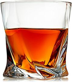 Venero Crystal Whiskey Glasses - Set of 4 - Tumblers for Drinking Scotch, Bourbon, Cognac, Irish Whisky - Large 10 oz Premium Lead-Free Crystal Glass Tasting Cups - Luxury Gift Box for Men or Women - GetYourGiftOn Crystal Whiskey Glasses, Whiskey Decanter, Bourbon Glasses, Gift Box For Men, Good Whiskey, Whiskey Room, Whiskey Cake, Whiskey Gifts, Old Fashioned Glass
