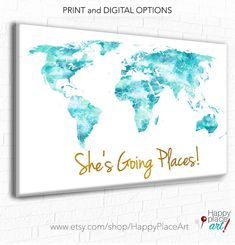 She's Going Places, World Map, Aqua and Gold World Map, Turquoise World map Canvas, Teal World Map Push Pin, Girls World Map, World Map Pin