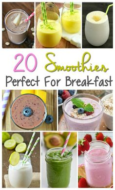 round up of smoothie recipes for breakfast or snack time. All simple to make and filled with fruits and vegetables. Great round up of smoothie recipes for breakfast or snack time. All simple to make and filled with fruits and vegetables. Apple Smoothies, Strawberry Smoothie, Easy Smoothies, Breakfast Smoothies, Vegetable Smoothies, Green Smoothies, Protein Smoothies, Smoothie Prep, Easy Smoothie Recipes