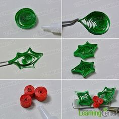 make a green quilling paper hair clip                                                                                                                                                                                 More