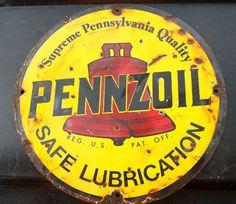 "Pennzoil Antique Porcelain Sign (Old Vintage Oil Advertising Gas Station Sign, ""Safe Lubrication"", ""Supreme Pennsylvania Quality"")"