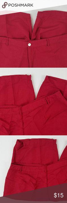 Ashley Stewart Red Linen Flat Dress Shorts Ashley Stewart Red Linen Flat Dress Shorts Pockets Sz 20W  55% Linen  45% Rayon Ashley Stewart Shorts