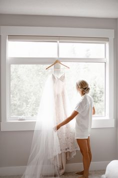 Canmore bride with wedding dress infront of window Banff National Park, National Parks, Calgary, Window, Weddings, Bride, Wedding Dresses, Photography, Fashion