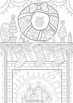 Christmas Mantelpiece Colouring Page Coloring SheetsPrintable