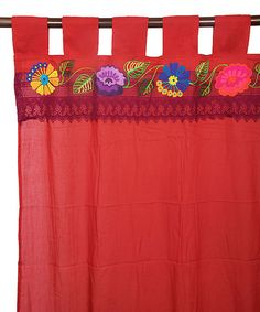 Look at this #zulilyfind! Red Embroidery & Lace Curtain Panel #zulilyfinds