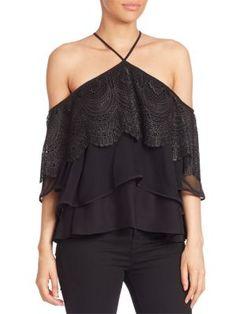 ELIZABETH AND JAMES Fleur Silk Tiered Cold-Shoulder Top. #elizabethandjames #cloth #top