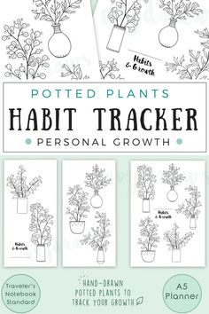 Blog post about how to use printable habit trackers (hand-drawn potted plants~) to track your personal growth in a bullet journal. I really like the plants as a metaphor for growth and balance! Journaling can be a wonderful way of sticking to healthy habits, incorporating self-care into daily life, and be creative!