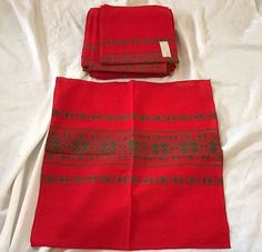 11 Vintage New Dead Stock Red Green Woven Embroidered Ikat Napkins 17.5 x 17""