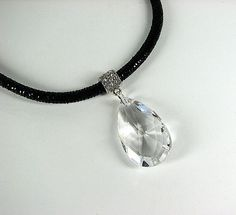 Statement crystal pendant necklace Black leather by ShopPretties, $65.00