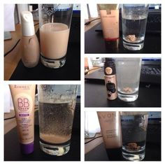 Are your foundations clogging up your pores? Test it out when you drip some of it in water! If it sticks to the side of the cup and coagulates then chances are it's clogging up your pores and may cause breakouts and white/blackheads. Water Based Foundation, Oil Free Foundation, Nu Skin, Oily Skin, Rimmel, Make Up Offers, Bb Cream, Whitening Face, Alcohol