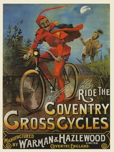 RED DEVIL Ride Gross Cycles Bicycle Bike Large Vintage Poster Repro FREE S/H | eBay